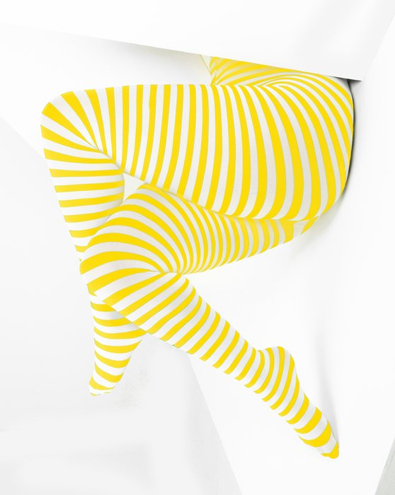 Yellow White Plus Sized Striped Tights Style# 1204 | We Love Colors