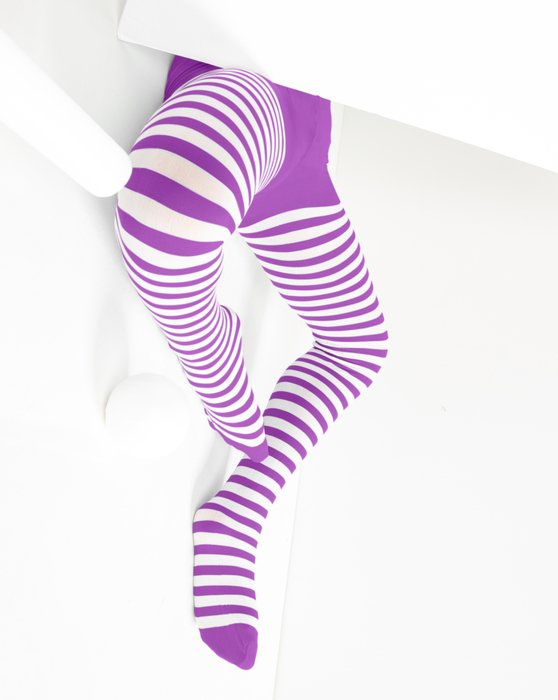 1273 Amethyst Kids White Striped Tights