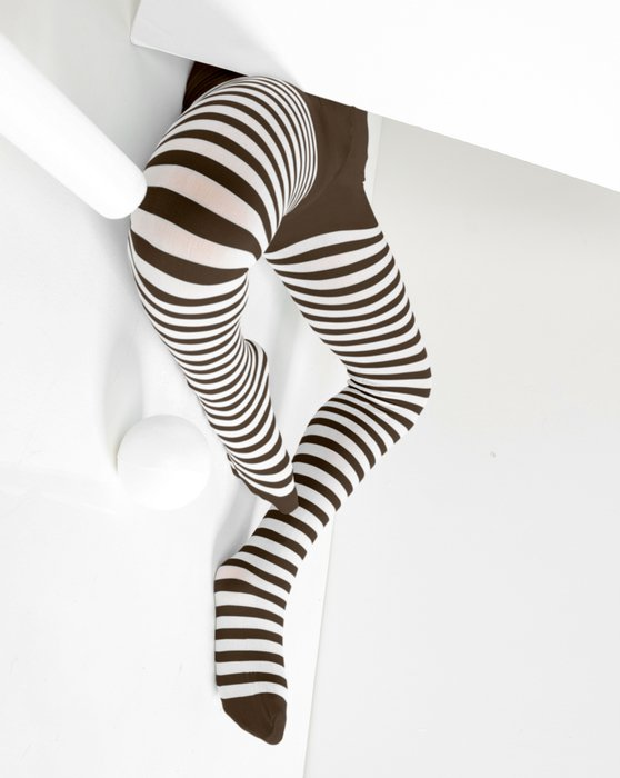 1273 Brown Kids White Striped Tights