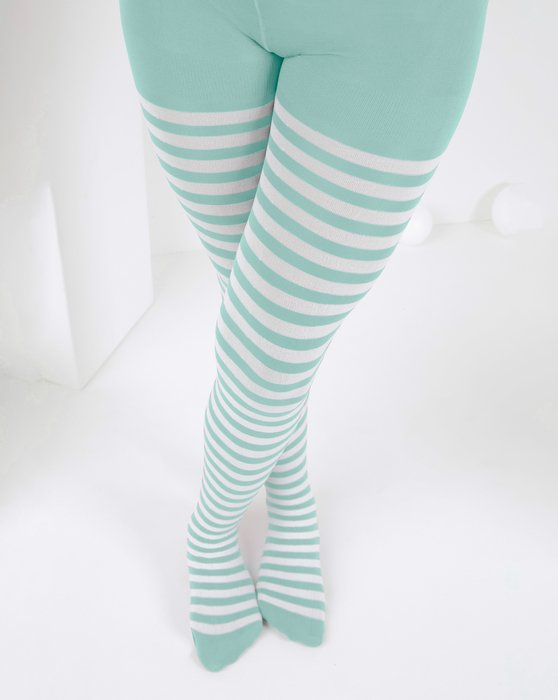 1273 Dusty Green Kids White Striped Tights