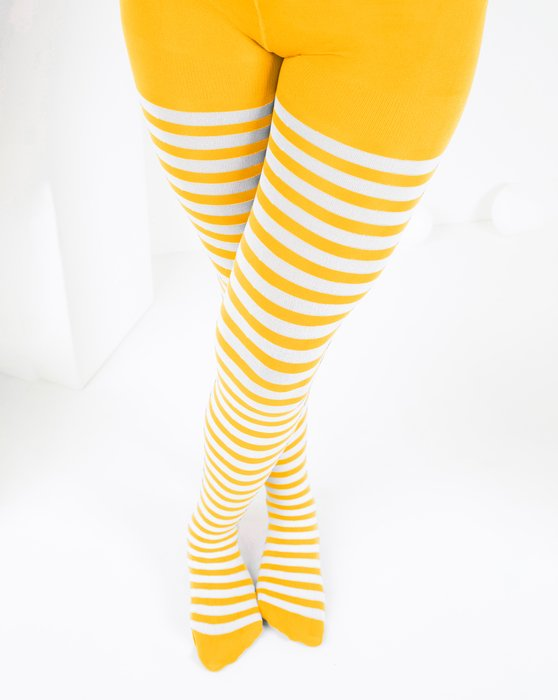 Gold Kids White Striped Tights