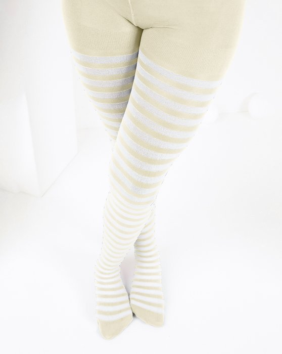 1273 Ivory Kids White Striped Tights
