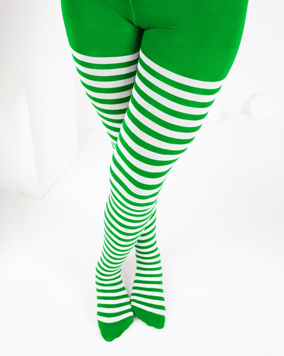 1273 Kelly Green White Kids White Striped Tights