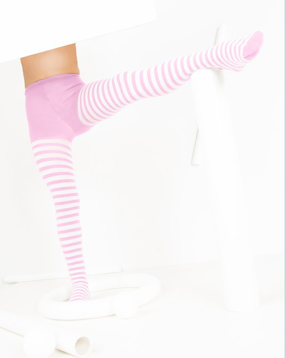 Light Pink Kids White Striped Tights