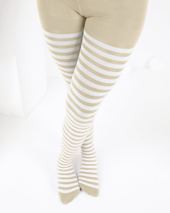 Light Tan Kids White Striped Tights Style# 1273 | We Love Colors