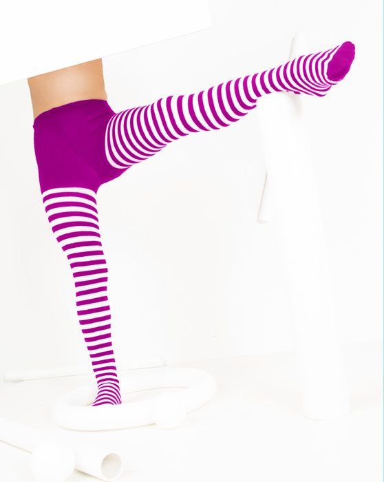 Magenta Kids White Striped Tights