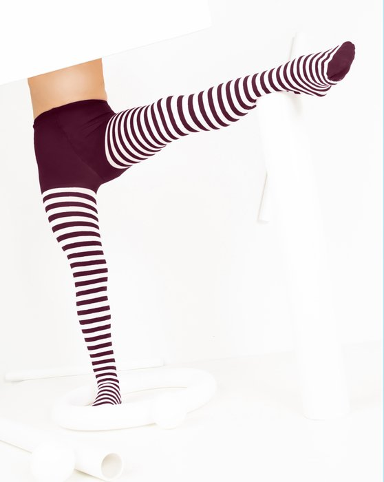 1273 Maroon Kids White Striped Tights