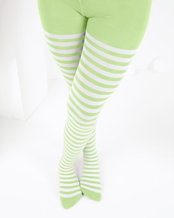 Mint Green Kids White Striped Tights