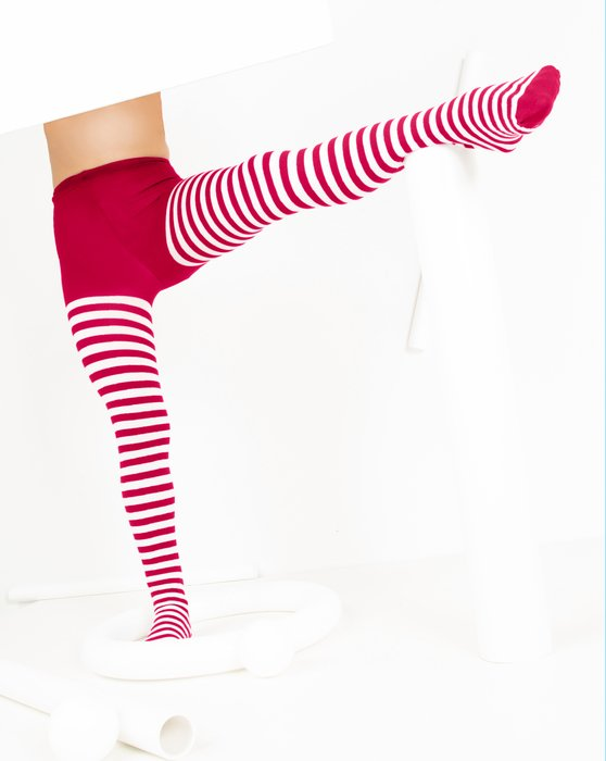 1273 Red Kids White Striped Tights