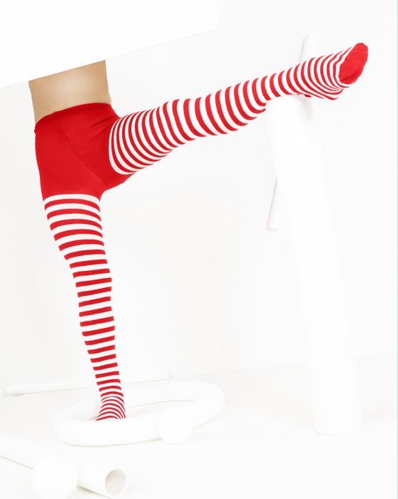 Scarlet Red Kids White Striped Tights