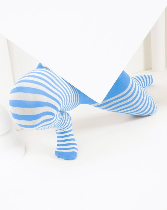 Sky Blue Kids White Striped Tights Style# 1273   We Love Colors