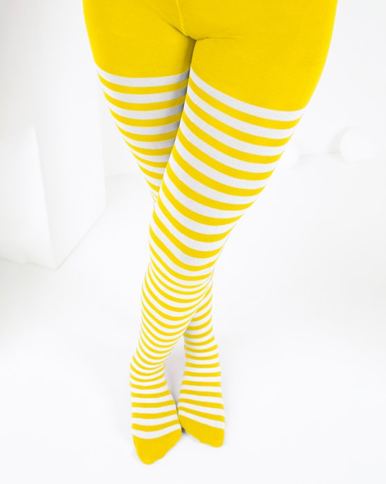 Yellow Kids White Striped Tights Style# 1273 | We Love Colors