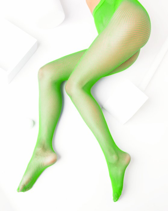 1401 W Neon Green Fishnets