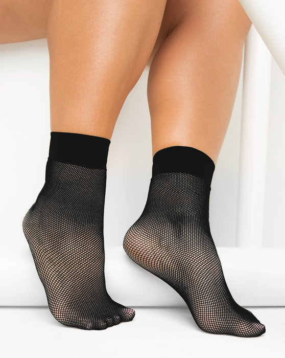 1429 Black Tiny Mesh Ankle Socks