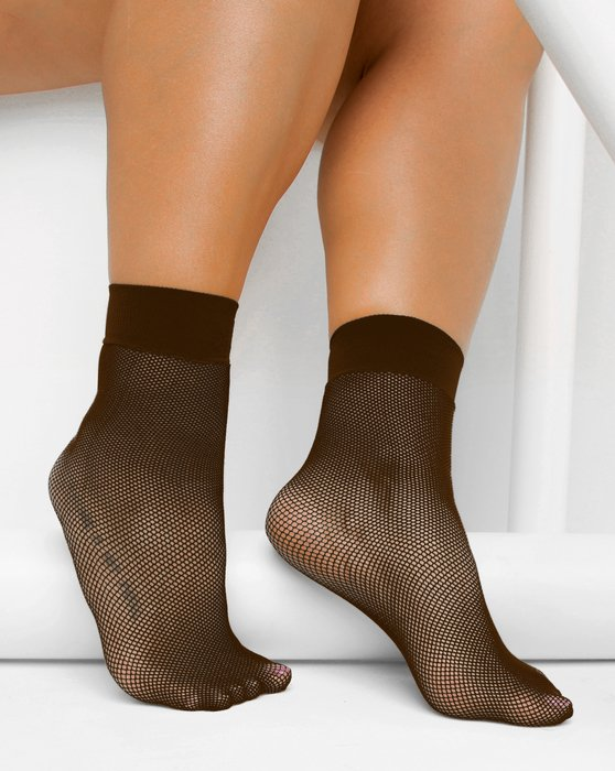 1429 Brown Tiny Mesh Ankle Socks