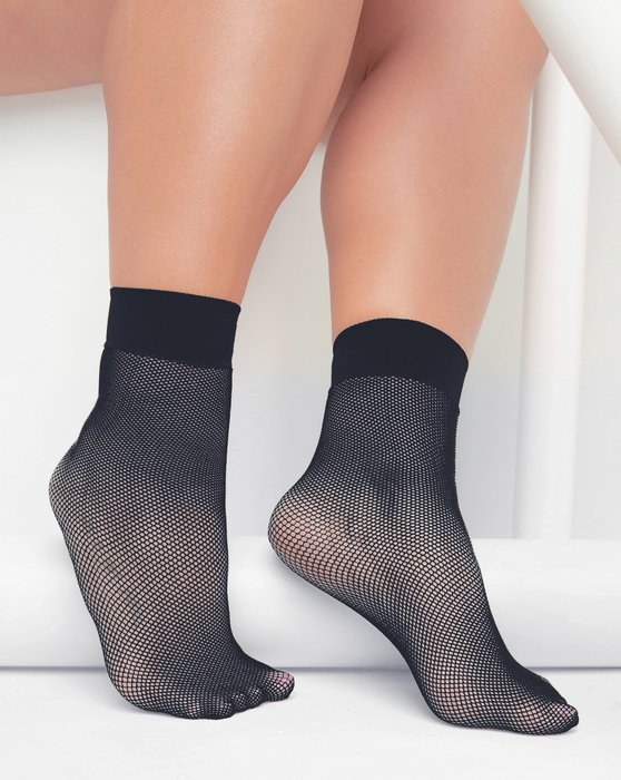 1429 Charcoal Tiny Mesh Ankle Socks