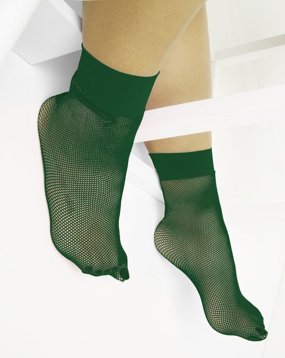 1429 Emerald Tiny Mesh Ankle Socks
