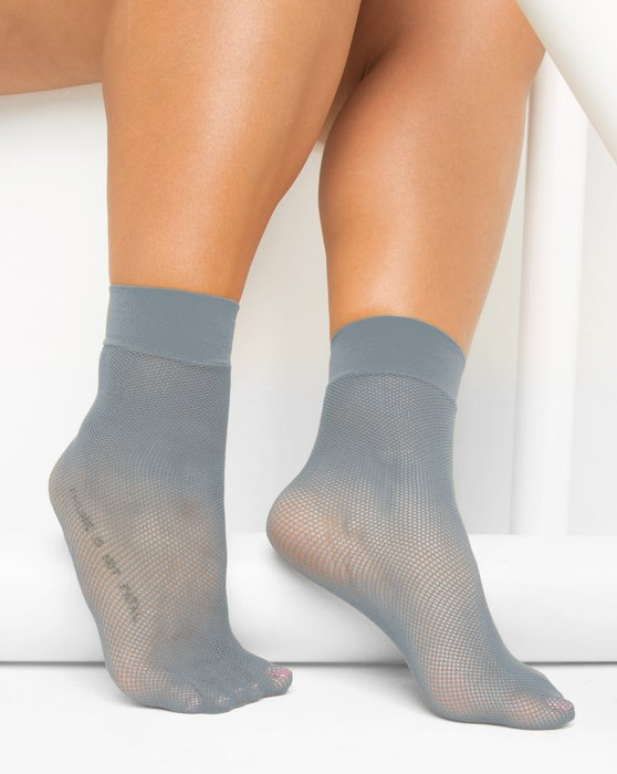 1429 Grey Tiny Mesh Ankle Socks