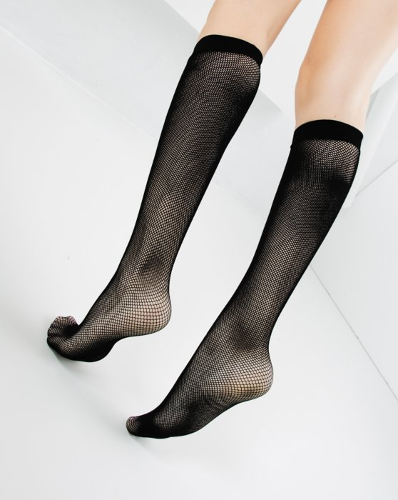 1431 Black Fishnet Knee High Socks