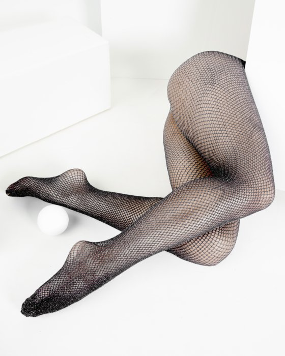 1451 Black Glitter Fishnets