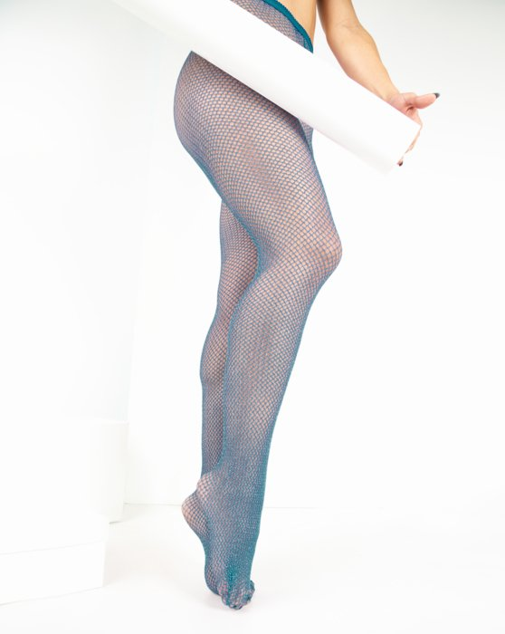 Teal Lurex Glitter Fishnet Style# 1451 | We Love Colors