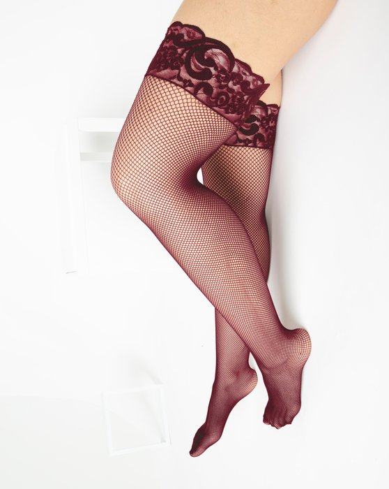 Maroon Over The Knee Fishnets Style# 1485 | We Love Colors