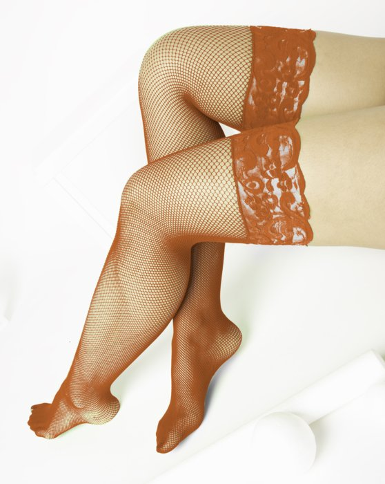 1485 Orange Over Knee Lace Top Fishnets