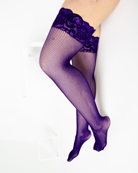 1485 Purple Over Knee Lace Top Fishnets