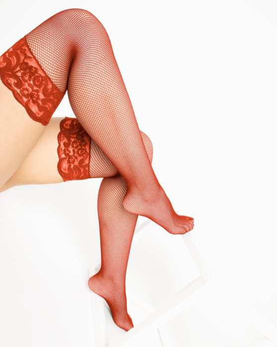 1485 Rust Over Knee Lace Top Fishnets