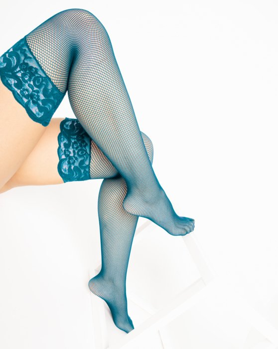 1485 Teal Over Knee Lace Top Fishnets