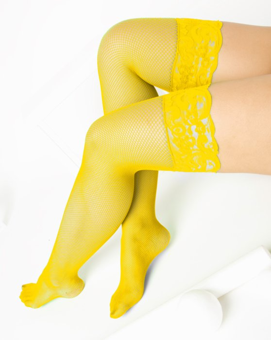 1485 Yellow Over Knee Lace Top Fishnets