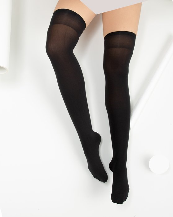 1501 Black Solid Color Thigh High Socks