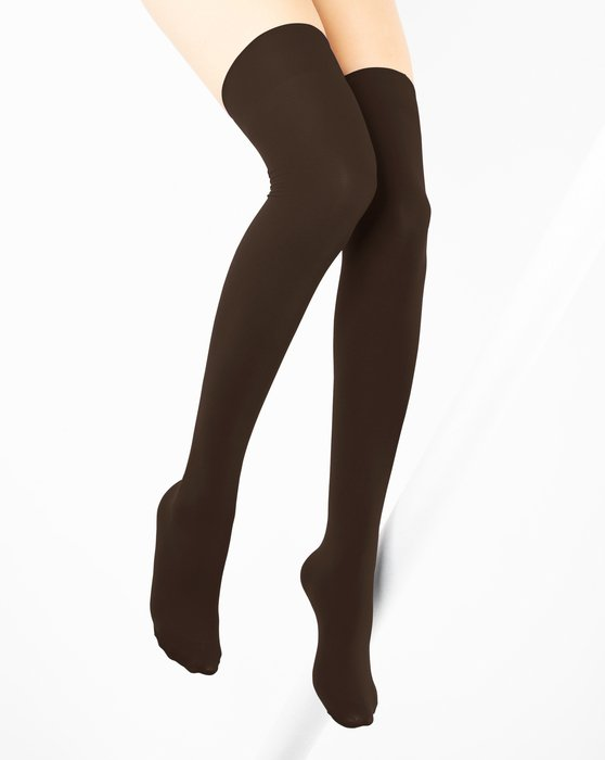 1501 Brown Solid Color Thigh High Socks