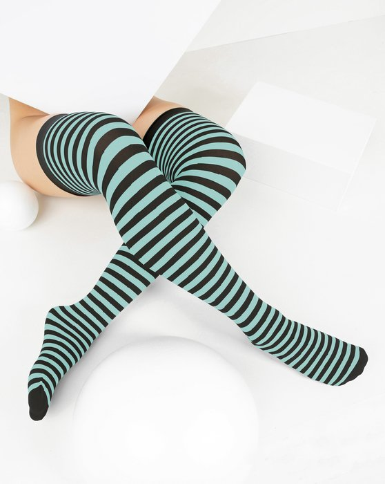 Dusty Green Black Striped Thigh Highs Style# 1503 | We Love Colors