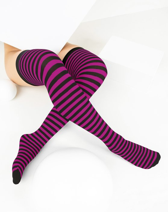 Fuchsia Black Striped Thigh Highs Style# 1503 | We Love Colors