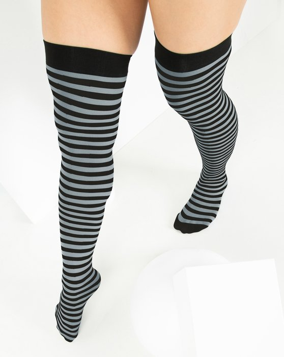 Black Striped Thigh Highs Style# 1503   We Love Colors