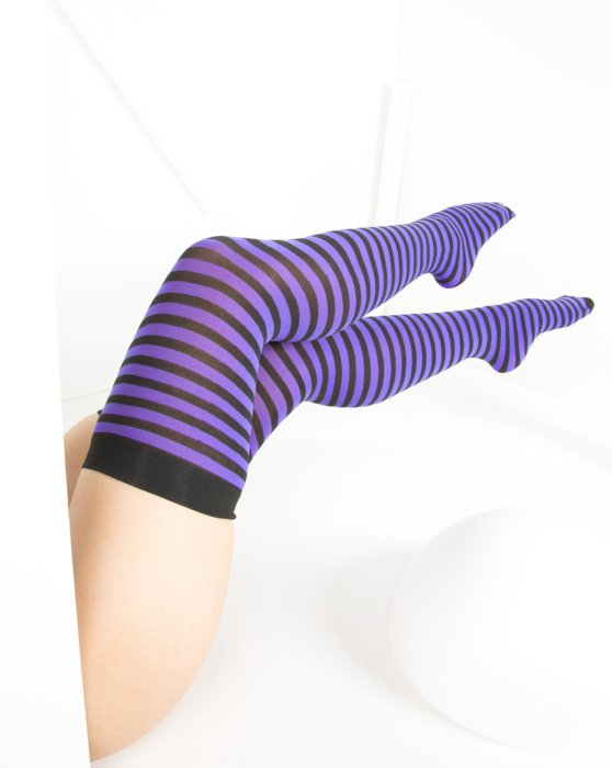 Lavender Black Striped Thigh Highs Style# 1503 | We Love Colors