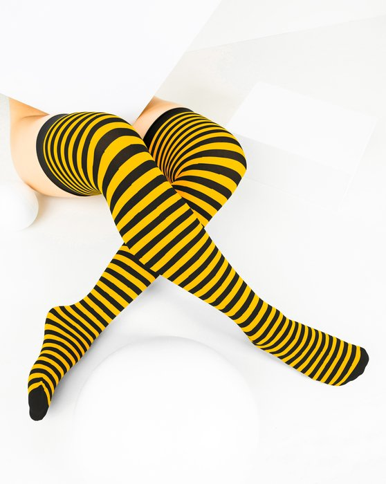 Gold Black Striped Thigh Highs Style# 1503 | We Love Colors