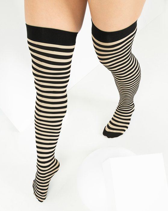 Light Tan Black Striped Thigh Highs Style# 1503 | We Love Colors
