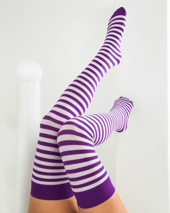 1505 Amethyst White Striped Thigh Highs