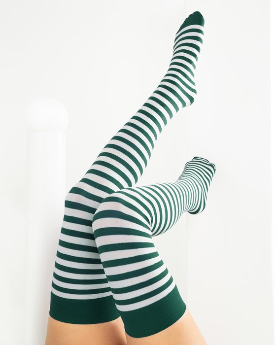 Hunter Green White Striped Thigh Highs Style# 1505 | We Love Colors