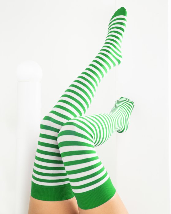 1505 Kelly Green White Striped Thigh Highs