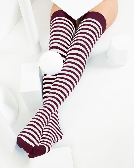 1505 Maroon White Striped Thigh Highs