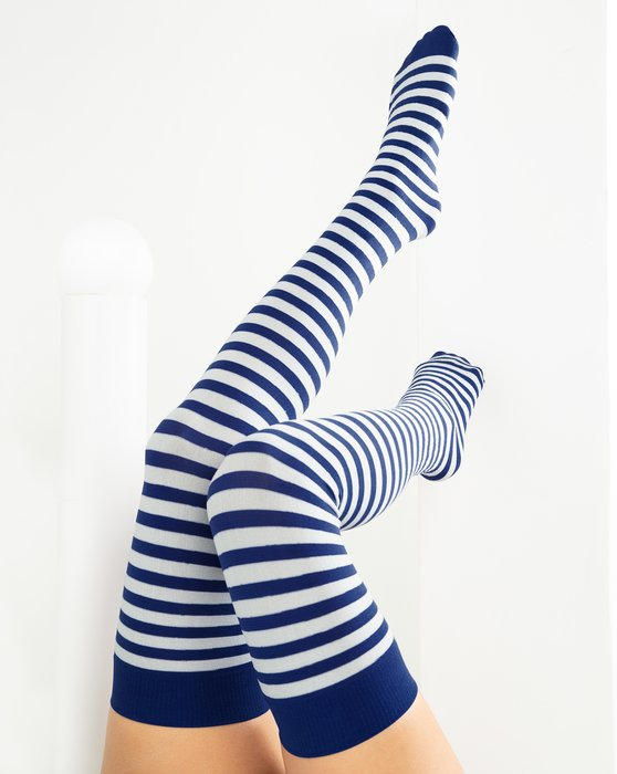 Navy White Striped Thigh Highs Style# 1505 | We Love Colors
