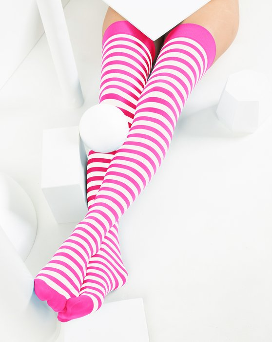 Neon Pink White Striped Thigh Highs Style# 1505 | We Love Colors