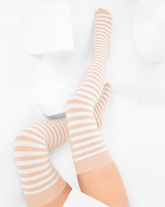 Peach White Striped Thigh Highs Style# 1505   We Love Colors