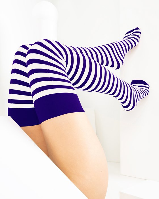Purple White Striped Thigh Highs Style# 1505 | We Love Colors