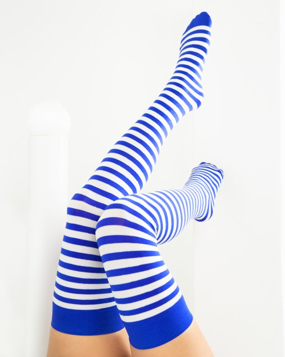 Royal White Striped Thigh Highs Style# 1505   We Love Colors