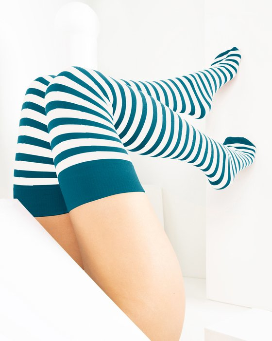 1505 Teal Striped Thigh High Socks