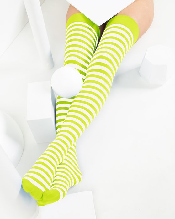 Neon Yellow White Striped Thigh Highs Style# 1505 | We Love Colors